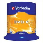 Диск DVD-R Verbatim  4,7 Gb 16x, Cake Box, 100шт (43549)