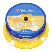 Диск DVD-R Verbatim  4,7 Gb 16x, Cake Box, 25шт (43522)