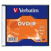Диск DVD-R Verbatim 4,7 Gb 16x, Slim Case (43547)