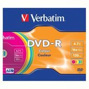 Диск DVD-R Verbatim 4,7 Gb 16x Color, Slim Case (43557)