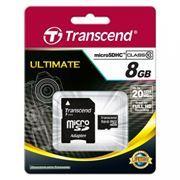 Карта памяти Micro SDHC 8Gb Transcend Class 10 + адаптер SD (TS8GUSDHC10)