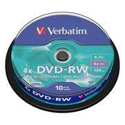 Диск DVD-RW VERBATIM 4,7 Gb 4x, Cake Box, 10шт (43552)