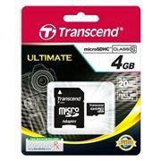 Карта памяти Micro SDHC 4Gb Transcend Class 10 + адаптер SD (TS4GUSDHC10)