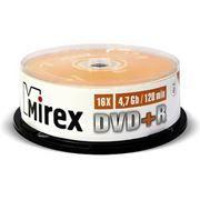 Диск DVD+R MIREX 4,7 Gb 16x, Cake Box, 25шт