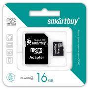Карта памяти Micro SDHC 16Gb SmartBuy Class 4 + адаптер SD (SB16GBSDCL4-01)