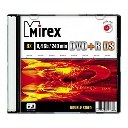 Диск DVD+R MIREX 9,4 Gb 8x двухсторонний, Slim Case  (UL130042A8S)