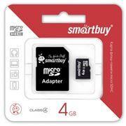 Карта памяти Micro SDHC 4Gb SmartBuy Class 4 + адаптер SD (SB4GBSDCL4-01)
