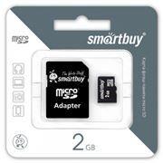 Карта памяти MicroSD 2 Gb SmartBuy + адаптер SD (SB2GBSD-01)