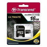 Карта памяти Micro SDHC 16Gb Transcend Class 10 + адаптер SD (TS16GUSDHC10)