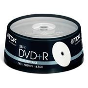 Диск DVD+R TDK 4,7 Gb 16x Printable, Cake Box, 25шт (t19845)
