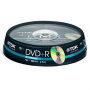 Диск DVD+R TDK 4,7 Gb 16x, Cake Box, 10шт (t19442)