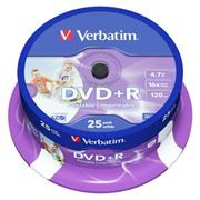 Диск DVD+R Verbatim 4,7 Gb 16x Wide Inkjet Printable, Cake Box, 25шт (43539)