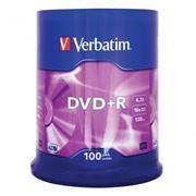Диск DVD+R Verbatim 4,7 Gb 16x, Cake Box, 100шт (43551)