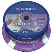 Диск DVD+R Verbatim 8,5 Gb 8x DL Printable, Cake Box, 25шт (43667)