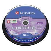 Диск DVD+R Verbatim 8,5 Gb 8x DL, Cake Box, 10 шт (43666)