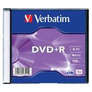 Диск DVD+R Verbatim 4,7 Gb 16x, Slim Case (43515)