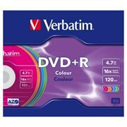 Диск DVD+R Verbatim 4,7 Gb 16x Color, Slim Case (43556)