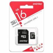 Карта памяти Micro SDHC 16Gb SmartBuy Class 10 UHS-I + адаптер SD (SB16GBSDCL10-01)