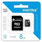 Карта памяти Micro SDHC 8Gb SmartBuy Class 4 + адаптер SD (SB8GBSDCL4-01)