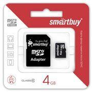 Карта памяти Micro SDHC 4Gb SmartBuy Class 10 + адаптер SD (SB4GBSDCL10-01)