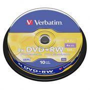 Диск DVD+RW VERBATIM 4,7 Gb 4x, Cake Box, 10шт (43488)