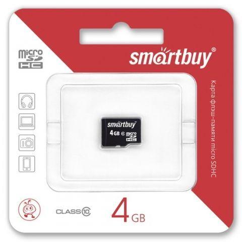 Карта памяти Micro SDHC 4Gb SmartBuy Class 10 без адаптеров (SB4GBSDCL10-00)