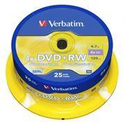 Диск DVD+RW VERBATIM 4,7 Gb 4x, Cake Box, 25шт (43489)