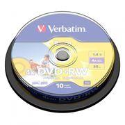 Диск Mini DVD+RW VERBATIM 1,4Gb 4x Printable, Cake Box, 10 шт (43641)
