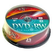 Диск DVD+RW VS 4,7 Gb 4x, Cake Box, 25шт (VSDVDPRWCB2501)